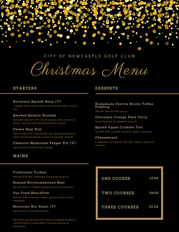 Christmas Menu.Christmas Menu 2018 City Of Newcastle Golf Club